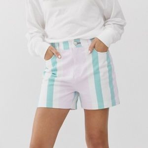 Tommy Jeans Pastel Striped High Rise Denim Shorts